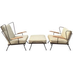 Rare Set of Loose Cushion Modernist Iron Lounge Chairs