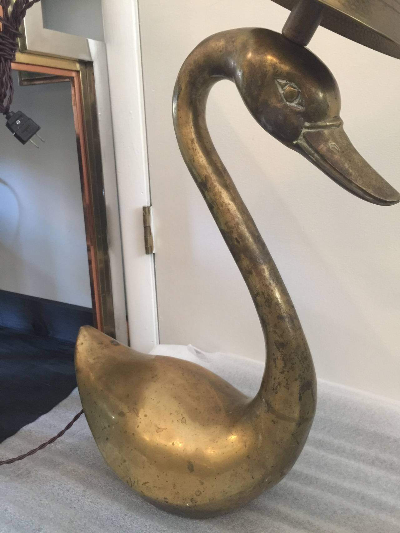 Oversized Brass Swan Table Lamps, Pair In Good Condition For Sale In East Hampton, NY