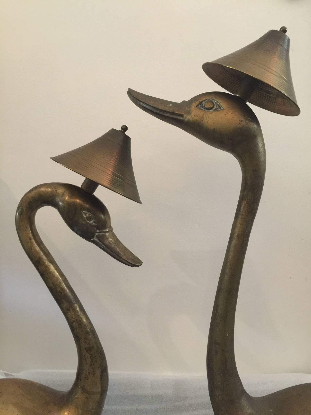 Mid-20th Century Oversized Brass Swan Table Lamps, Pair For Sale