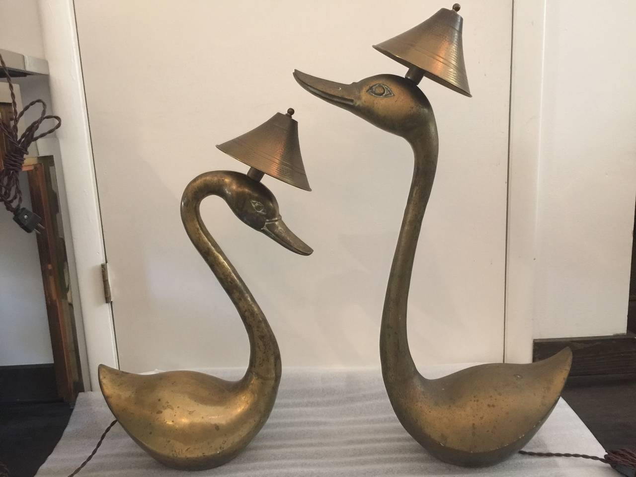 Oversized Brass Swan Table Lamps, Pair For Sale 2