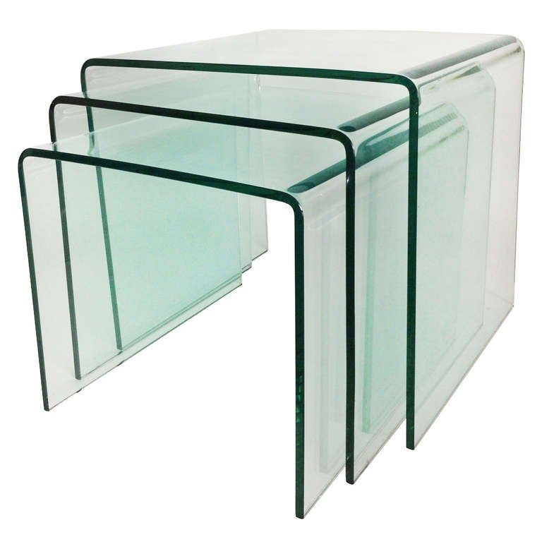 Bent glass nesting tables set of 3 for sale at 1stdibs bent glass nesting tables set of 3 for sale watchthetrailerfo