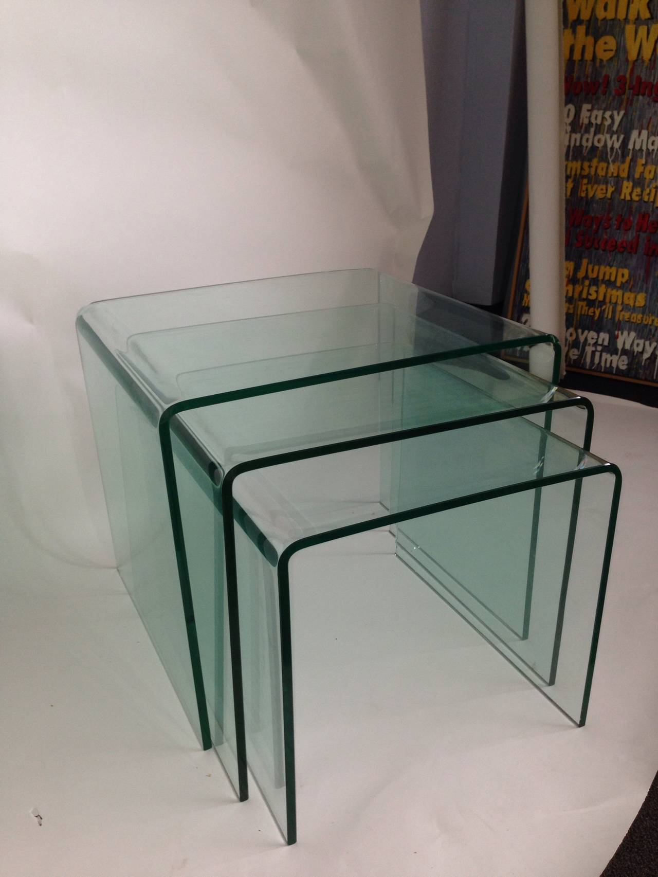 American Bent Glass Nesting Tables (Set of 3) For Sale