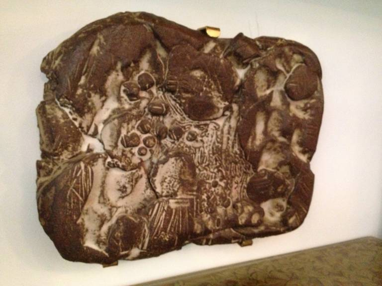 in the Style of Peter Voulkos, Heavy Ceramic Wall-Mounted Sculpture In Excellent Condition For Sale In East Hampton, NY