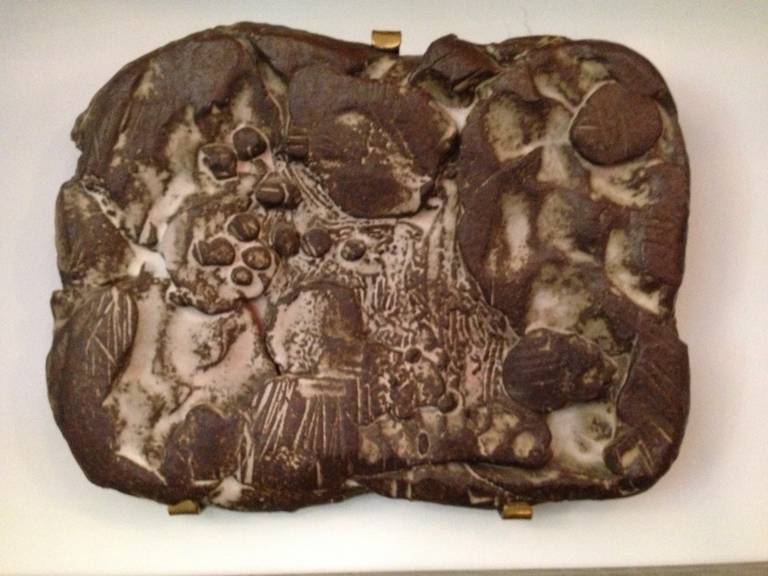 Mid-20th Century in the Style of Peter Voulkos, Heavy Ceramic Wall-Mounted Sculpture For Sale