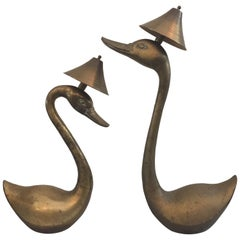 Oversized Brass Swan Table Lamps, Pair