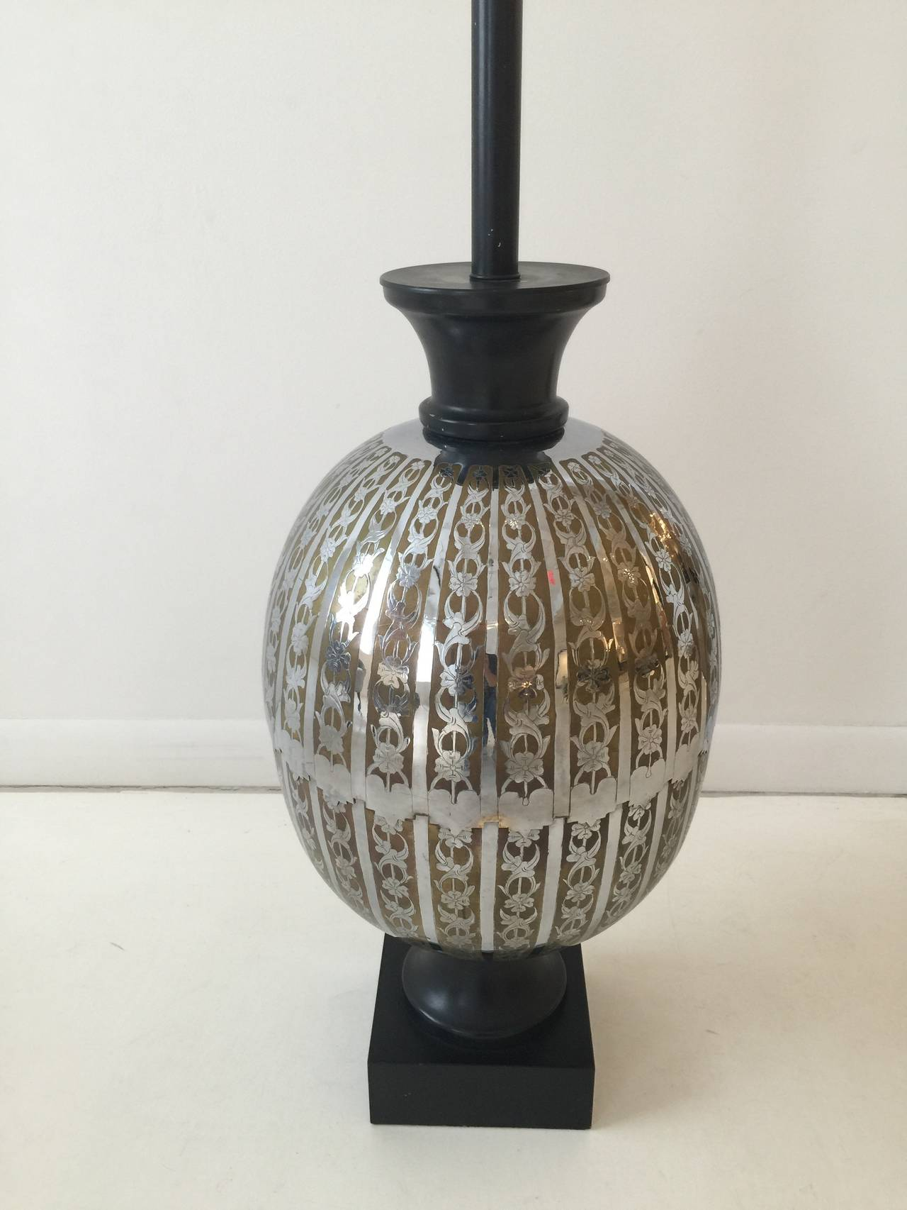 American Oversized Stencil-Cut Metal Lamp For Sale