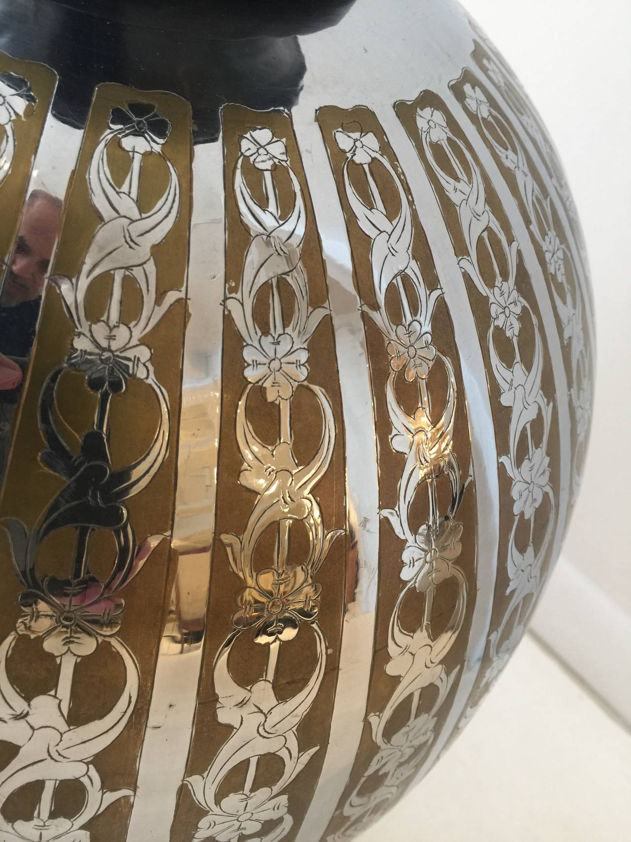Oversized Stencil-Cut Metal Lamp In Good Condition For Sale In East Hampton, NY