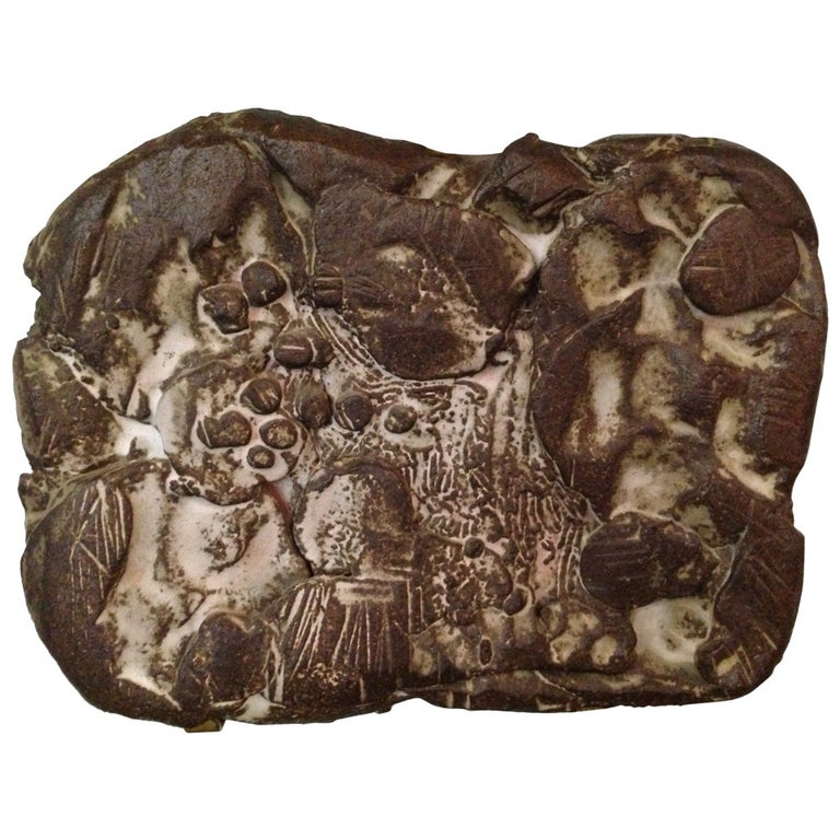 in the Style of Peter Voulkos, Heavy Ceramic Wall-Mounted Sculpture For Sale