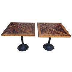 Pair of Antique Reclaimed Wood Parquet Design Tables
