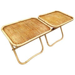 Amazing Pair of Signed Gabriella Crespi Rattan Collapsible Tray Tables
