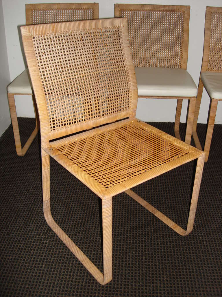 Rare Harvey Probber Woven Rattan Dining Chairs At 1stdibs