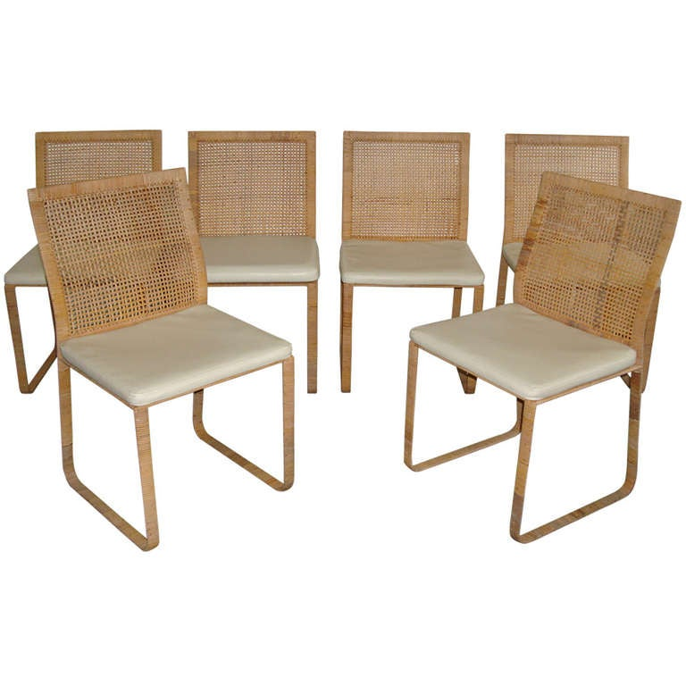 Rare harvey probber woven rattan dining chairs at 1stdibs - Woven dining room chairs designs ...