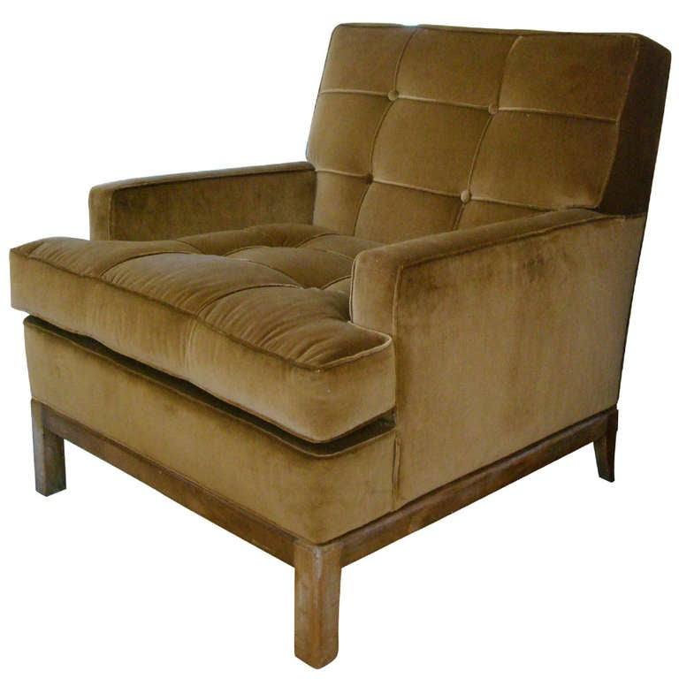 1940 s Tufted Bronze Velvet Tommi Parzinger Armchair 1. 1940 s Tufted Bronze Velvet Tommi Parzinger Armchair For Sale at