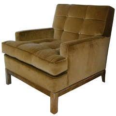 1940s Tufted Bronze Velvet Tommi Parzinger Armchair