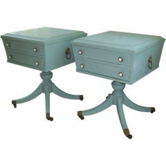 Pair of Turquoise Distressed Occasional Tables