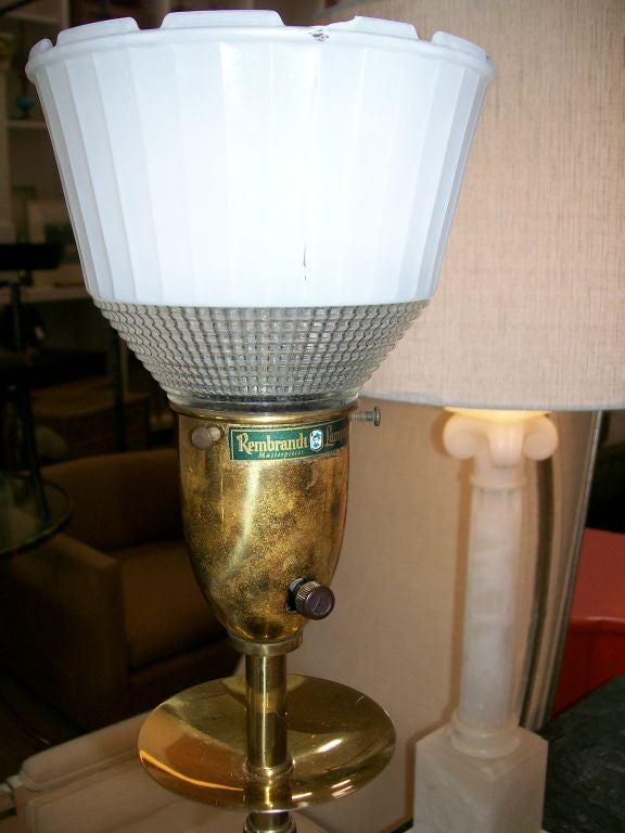 American Vintage Rembrandt Wood and Brass Lamps, Pair For Sale