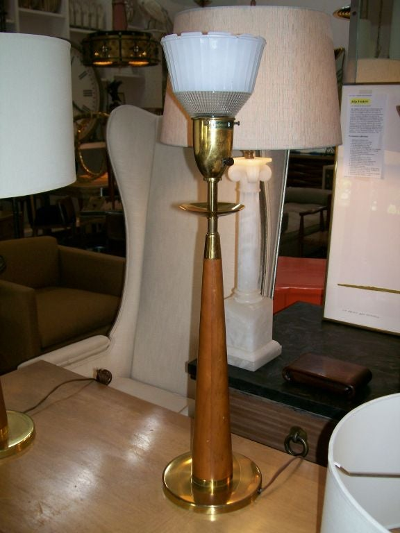Vintage Rembrandt Wood and Brass Lamps, Pair In Good Condition For Sale In East Hampton, NY