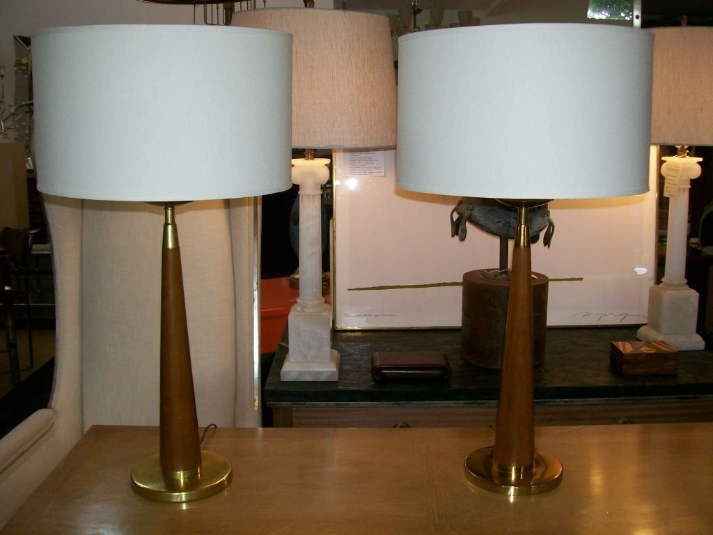 Mid-20th Century Vintage Rembrandt Wood and Brass Lamps, Pair For Sale
