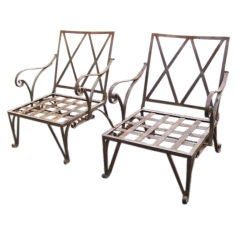 Pair of Lattice Back Reclining Garden Armchairs