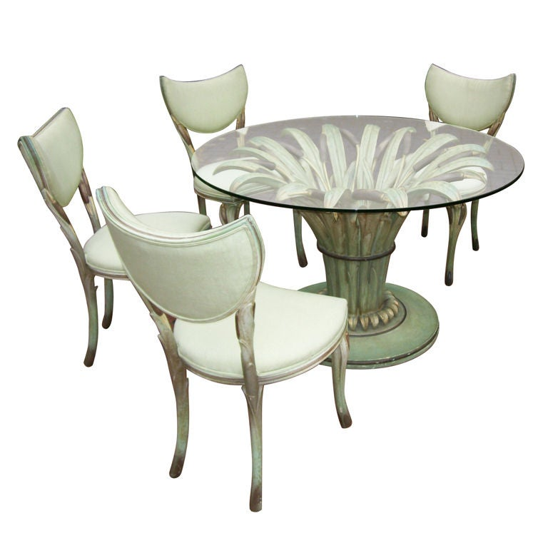 Rare and special italian cattail dining table and chairs at 1stdibs - Italian dining table sets ...
