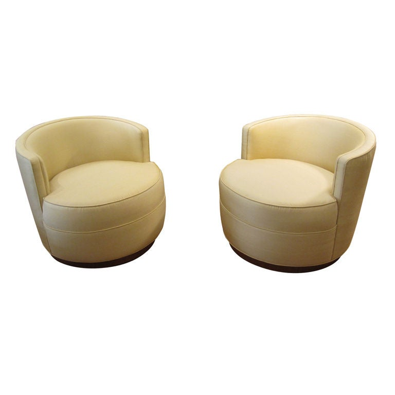 Pair Of Barrel Back Swivel Chairs By Dunbar At 1stdibs