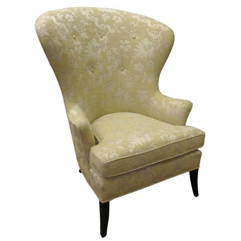 High Back Wing Chair In The Style Of Edward Wormley At 1stdibs