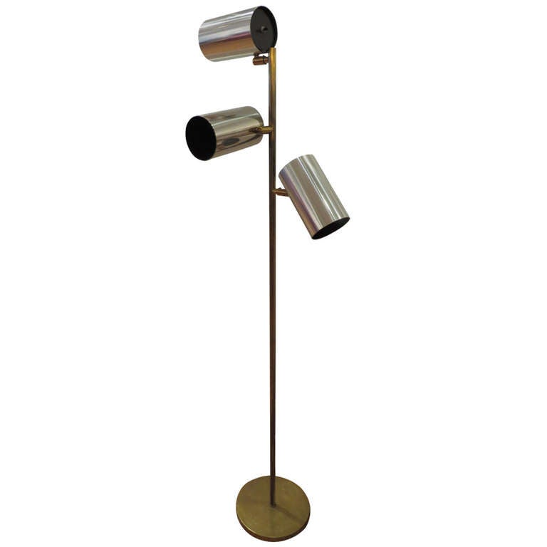 Brass And Chrome Articulated Floor Lamp By Koch And Lowy