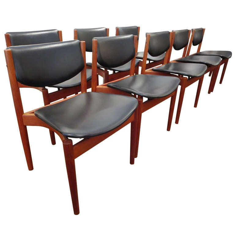 set of eight dining room chairs by finn juhl for france