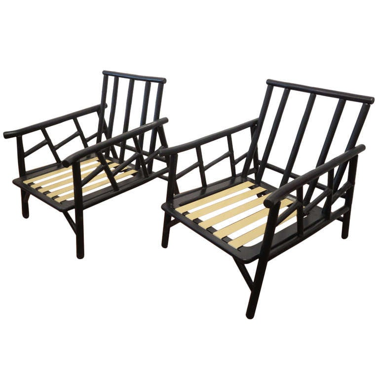 Pair of Ficks Reed Bamboo Lounge Chairs at 1stdibs