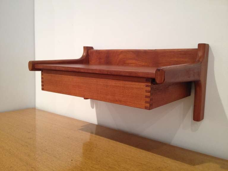 Wall mounted teak night stand shelf by hans wegner at for Wall shelf nightstand