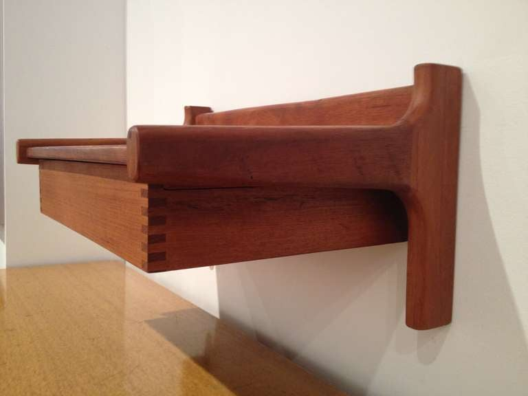 Wall Mounted Teak Night Stand / Shelf by Hans Wegner at 1stdibs