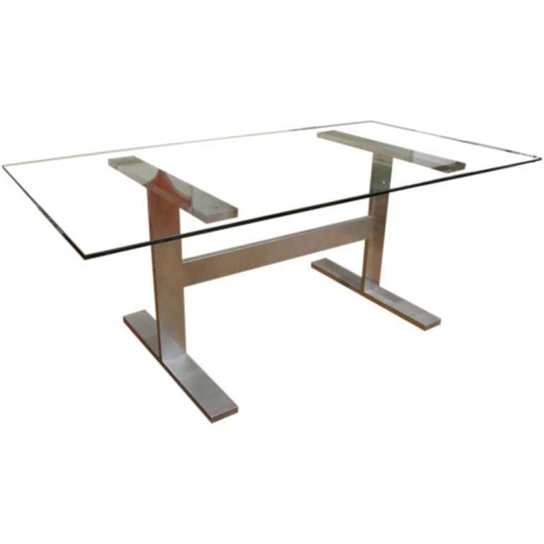 dining table desk with glass top on a metal base at 1stdibs