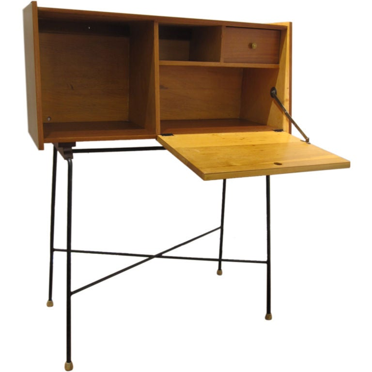 Small desk on metal frame in the style of pierre paulin at Small steel desk