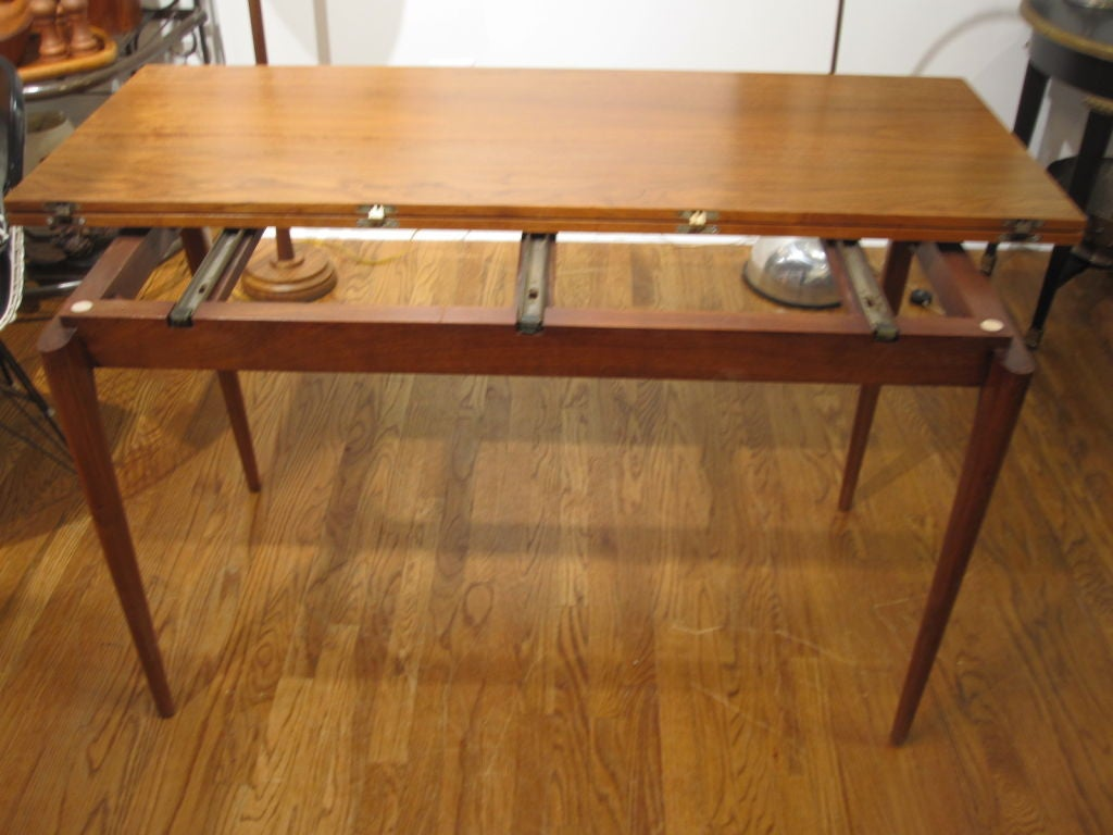 flip top console dining table in the manner of jens risom at 1stdibs. Black Bedroom Furniture Sets. Home Design Ideas