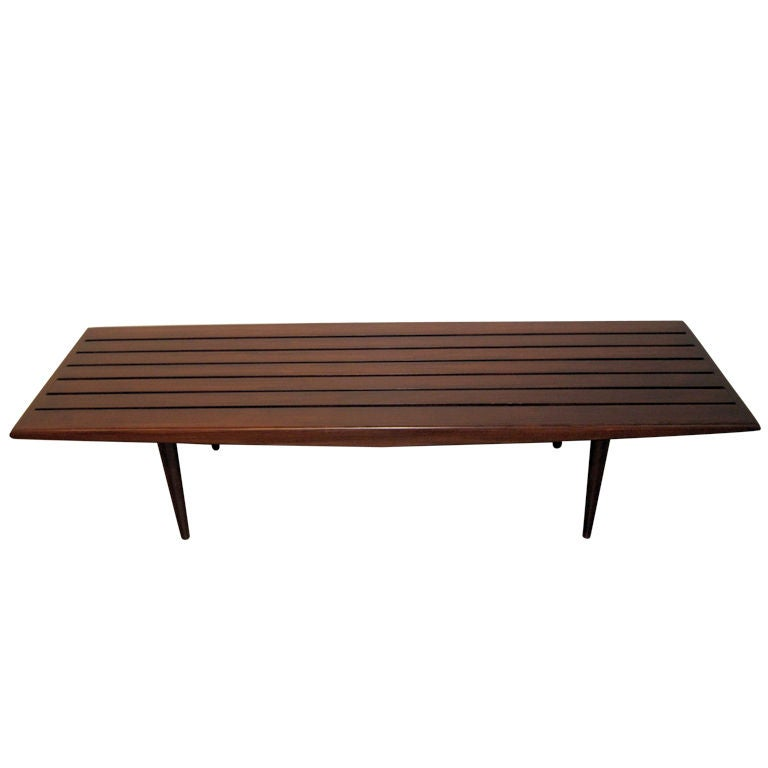 Slatted Wood Bench Coffee Table At 1stdibs