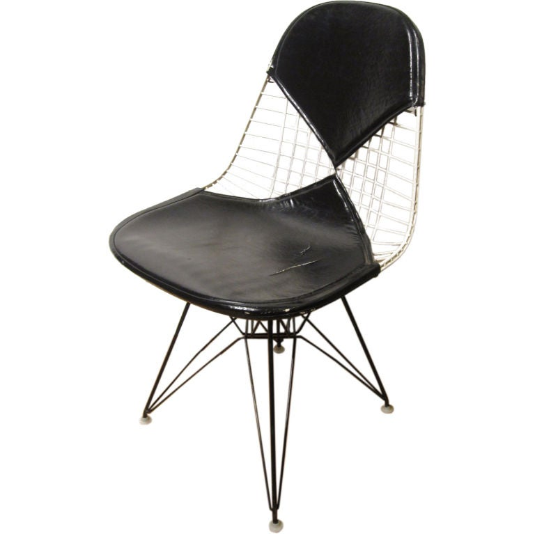 early eames wire chair with bikini pad at 1stdibs. Black Bedroom Furniture Sets. Home Design Ideas