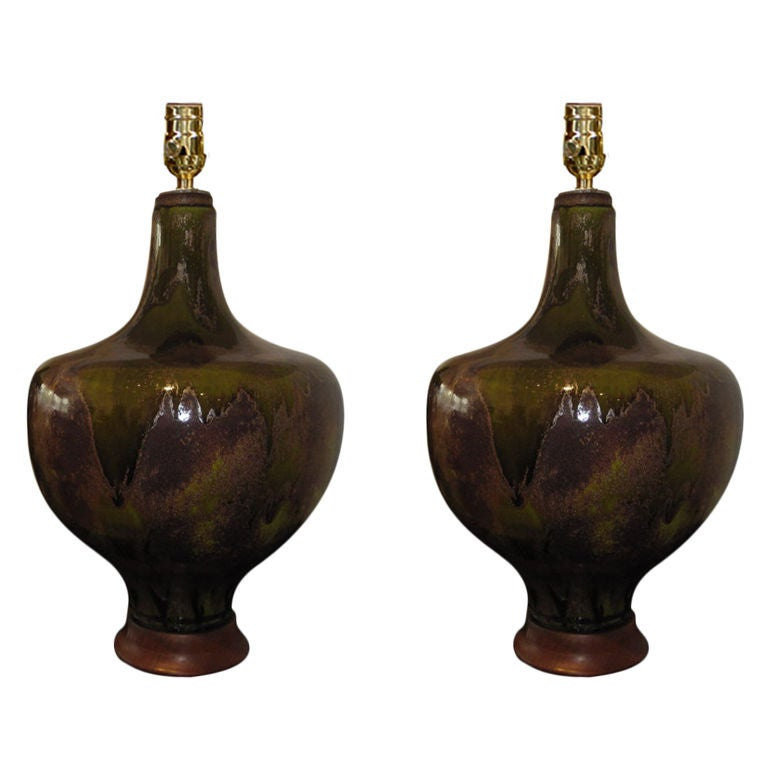 Pair Of Large Ceramic Table Lamps With Beautiful Glaze At