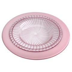 "Monumental Fratelli Toso Murano Venetian Pink ""Ribbon"" Centerpiece/Low Bowl"