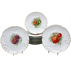 Ten Nymphenburg Hand-Painted Fruit Plates with Molded and Pierced Borders