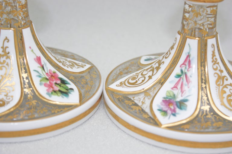 Pair Of 19th C Bohemian Moser Overlay Cut To Clear Vases