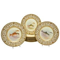 12 Royal Doulton  Artist Signed C. Holloway Fish Plates
