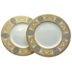 Set Of 12 Minton Art Nouveau Dinner Plates W/ Raised Gold on Gray