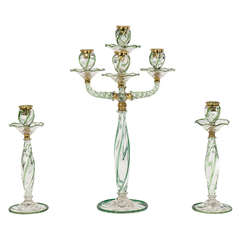 Webb 3 Piece Candelabra Centerpiece Set with Applied Apple Green Decoration