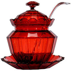 Hand Blown 19th Century Cranberry Crystal Covered Punchbowl on Stand with Matching Ladle