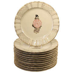 Set of 12 Hand Decorated Limoges Dessert Plates with Japanese Subjects