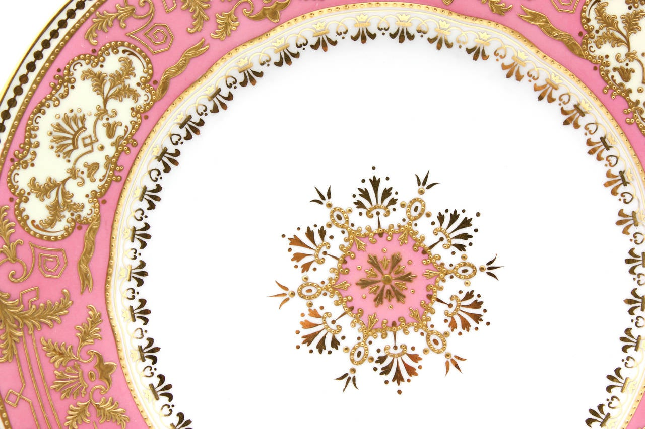 Neoclassical Set of 12 Spode for Tiffany Raised Gold and Pink Rose Du Barry Dessert Plates For Sale