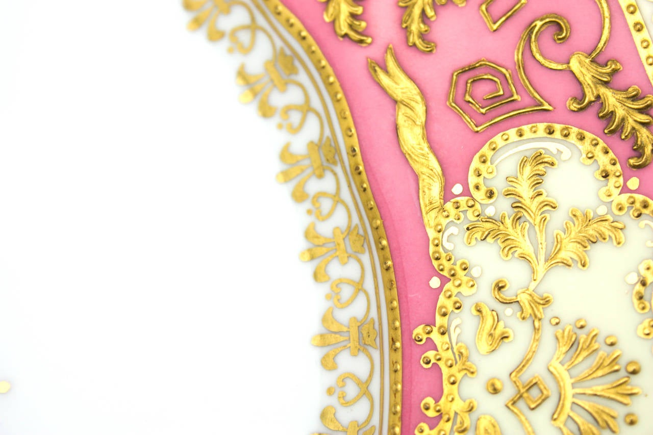 Early 20th Century Set of 12 Spode for Tiffany Raised Gold and Pink Rose Du Barry Dessert Plates For Sale