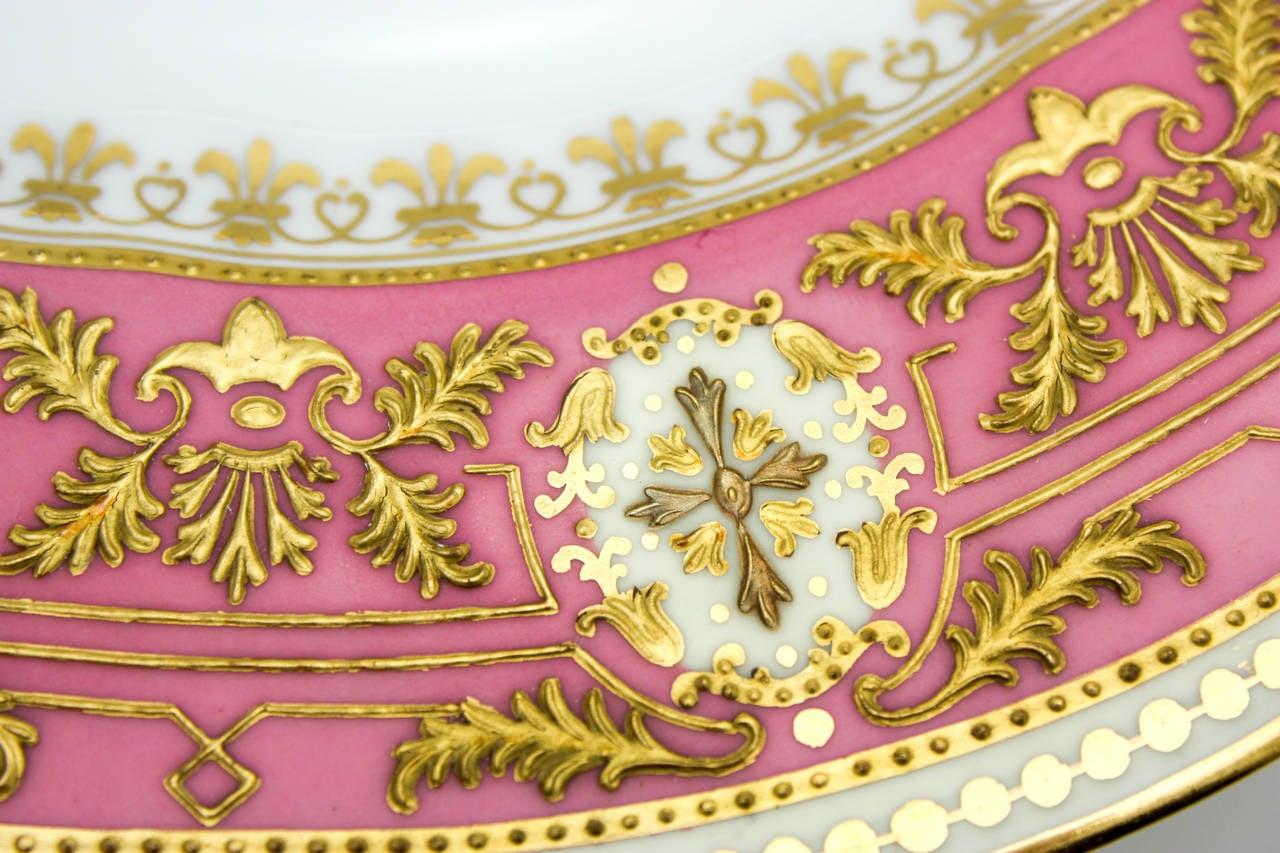 Porcelain Set of 12 Spode for Tiffany Raised Gold and Pink Rose Du Barry Dessert Plates For Sale