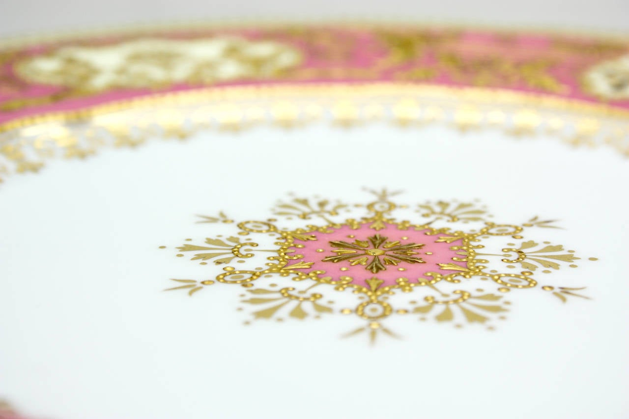 English Set of 12 Spode for Tiffany Raised Gold and Pink Rose Du Barry Dessert Plates For Sale