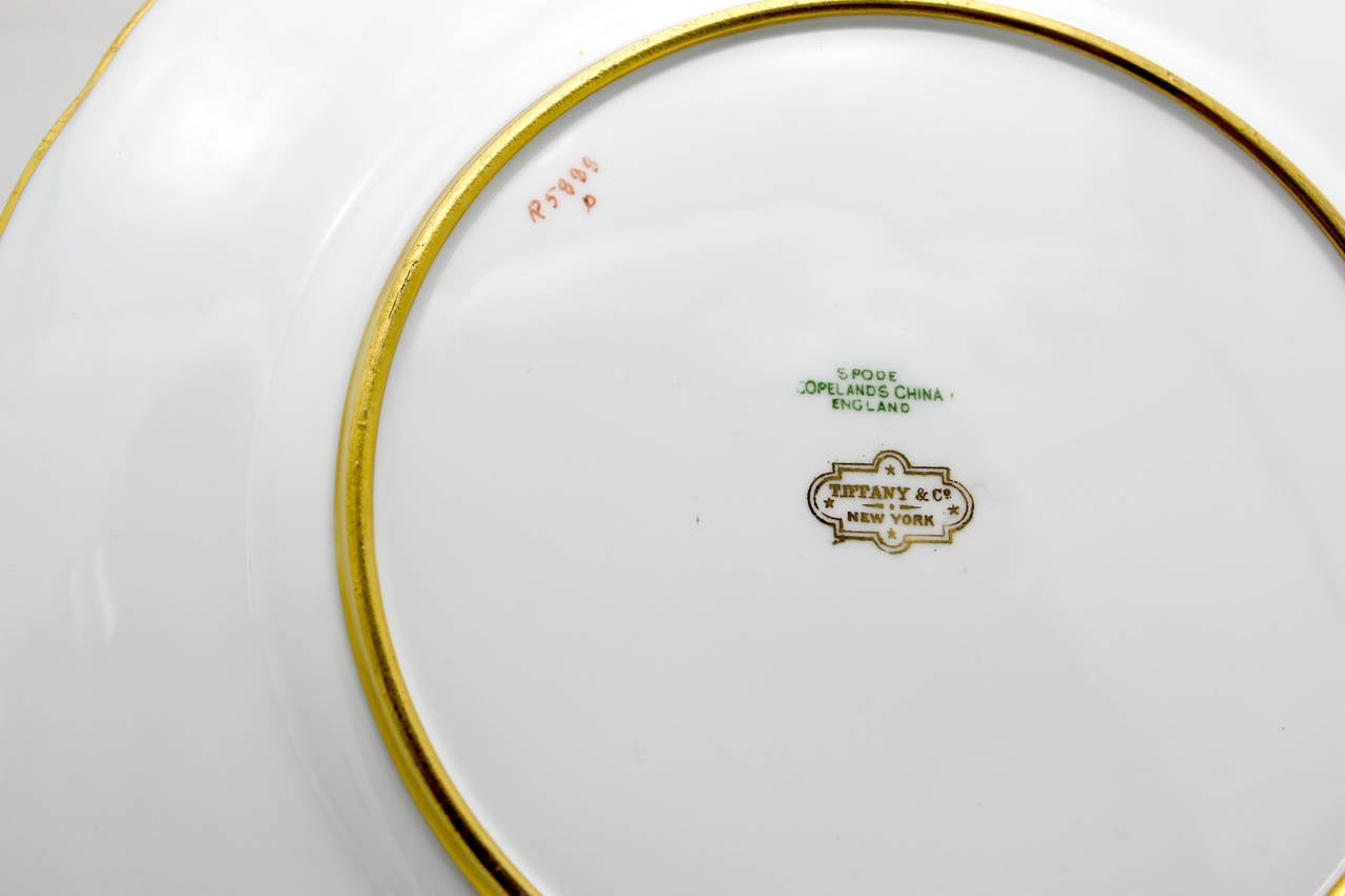 Set of 12 Spode for Tiffany Raised Gold and Pink Rose Du Barry Dessert Plates In Excellent Condition For Sale In Great Barrington, MA
